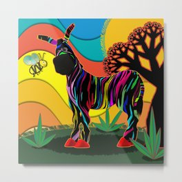 Zapped Zebra Zing has a Flying Visitor Metal Print