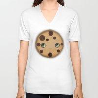 cookie V-neck T-shirts featuring Cookie by Ilya Konyukhov
