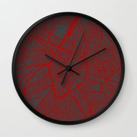brussels Wall Clocks featuring Brussels by Map Map Maps