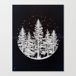 Trees in a Winter Forest Canvas Print