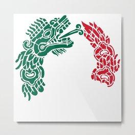 Aztec Quetzalcoatl - Serpent Mexican Flag - Mexico Roots Metal Print