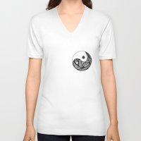 yin yang V-neck T-shirts featuring Yin Yang by Bearskin