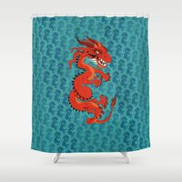 smaug Shower Curtains featuring Red Dragon with Teal by Cartoonasaurus