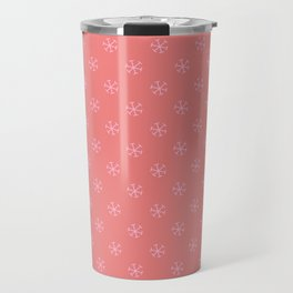Cotton Candy Pink on Coral Pink Snowflakes Travel Mug