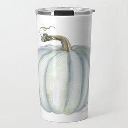Gray Teal Pumpkin Watercolor Travel Mug