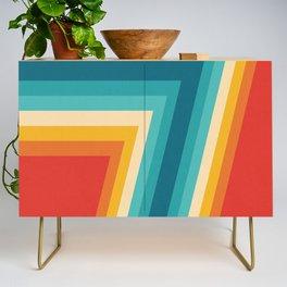 Colorful Retro Stripes  - 70s, 80s Abstract Design Credenza
