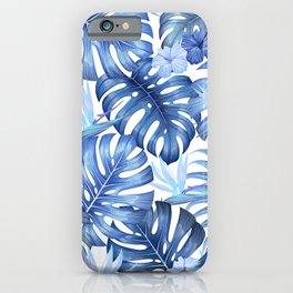 Blue tropical pattern  (monstera leaves and bird of paradise flowers iPhone Case