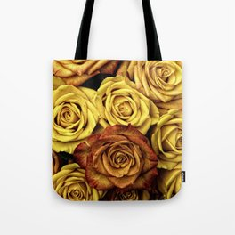 Golden Yellow Roses Pattern (Color) Tote Bag