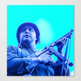 retro American GI soldier with Thompson machine gun  Canvas Print