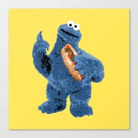 cookie monster Canvas Prints featuring Cookie Monster by 1337 Designs