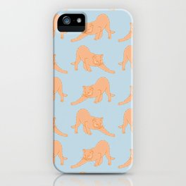 Ginger Cat Stretching Pattern iPhone Case
