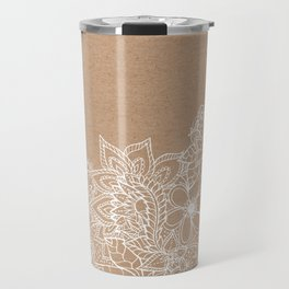 Modern white hand drawn floral illustration on rustic beige faux kraft color block Travel Mug