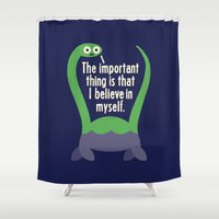 monika strigel Shower Curtains featuring Myth Understood by David Olenick