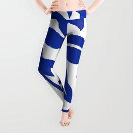 PALM LEAF VINE SWIRL BLUE AND WHITE PATTERN Leggings