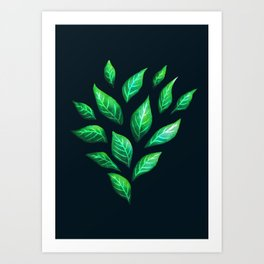 Dark Abstract Green Leaves Art Print