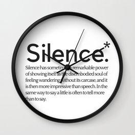 Silence- Thomas Hardy Book Quote Print Wall Art | Minimalist Print | Inspiring Quote Print Wall Clock