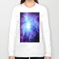 nebula Long Sleeve T-shirts featuring NEBula Purple Periwinkle Blue by GalaxyDreams