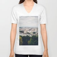 budapest V-neck T-shirts featuring Budapest Pano by Johnny Frazer