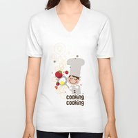 cooking V-neck T-shirts featuring Cooking Papa by inkdesigner