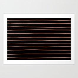 Sherwin Williams Cavern Clay SW7701 Hand Drawn Horizontal Lines on Black Art Print