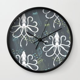 Ghostly Squid Damask Wall Clock