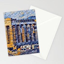 Greece Parthenon Artistic Illustration Classic Random Mosaic Style Stationery Cards