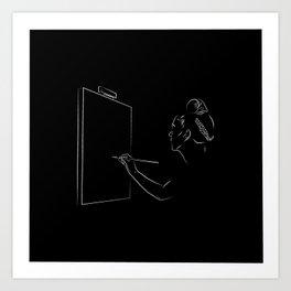Frida Kahlo Painting Black and White Art Print