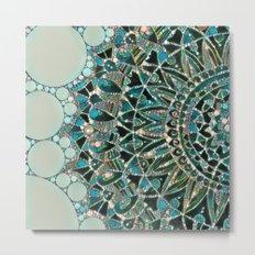 Bloom Mandala in Ocean Metal Print
