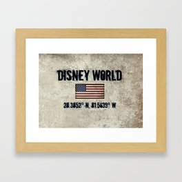The Longitude and. Latitude of WDW in Orlando, FL Framed Art Print