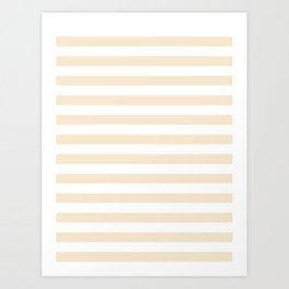 Narrow Horizontal Stripes - White and Champagne Orange Art Print