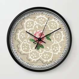 Doily Rose Pink Wall Clock