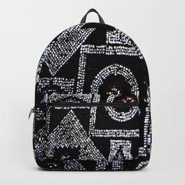 Black White Blue Red Mosaic Print Backpack