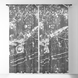 lost place rusty american car wreck splatter watercolor black white Sheer Curtain