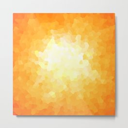 Yellow and Orange Sunburst Geometric Shape Modern Stain Glass Metal Print