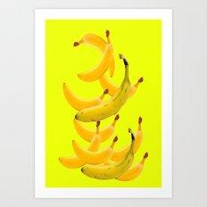 Bananas Falling in Ambient Yellow Color  Art Design. Art Print