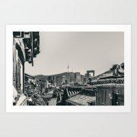 seoul Art Prints featuring Seoul Cityscape by Jennifer Stinson