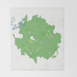 Austin Texas Minimalist Map (Cucumber) Throw Blanket