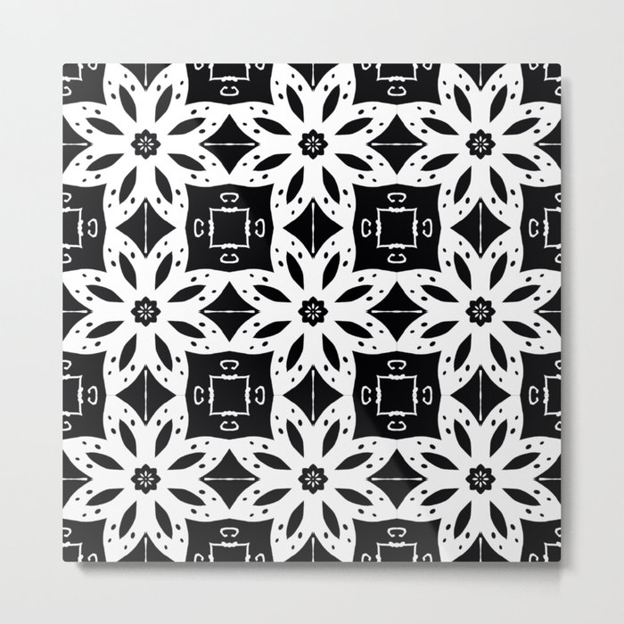 Black and White Floral Patterns Metal Print