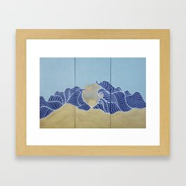 Japanese wall art Large painting J055 Fuji sea sun Japan mid century modern art by artist Ksavera Framed Art Print