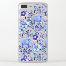 Pale Coral, White and Purple Elephant and Floral Watercolor Pattern Clear iPhone Case