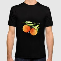 Watercolor oranges Black MEDIUM Mens Fitted Tee