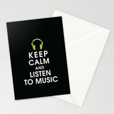Keep Calm and Listen to Music Stationery Cards