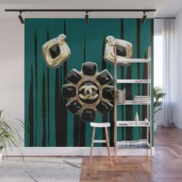 vintage coco jewlery gold glamour fashion green Wall Mural