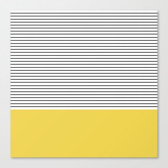 MINIMAL Green Stripes Canvas Print