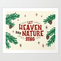 Let Heaven and Nature Sing Vintage Christmas Holiday Lettering Illustration Art Print