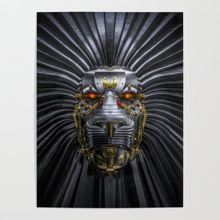 Hear Me Roar / 3D render of serious metallic robot lion Poster