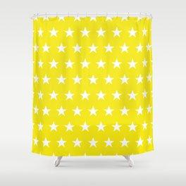 White stars on yellow pattern Shower Curtain