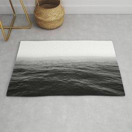 ocean horizon black and white landscape photography Rug