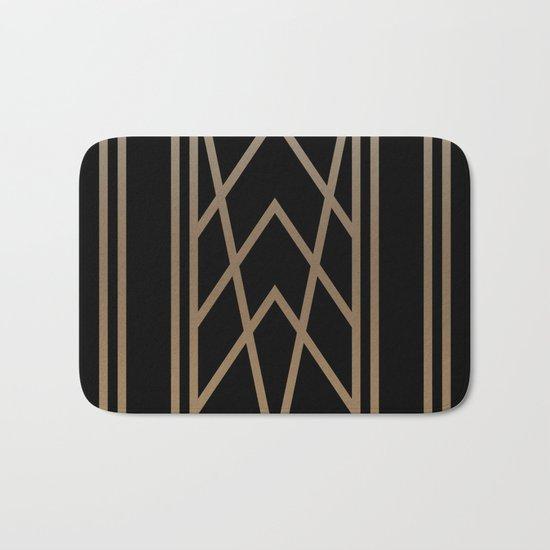 BLACK AND GOLD 2 (abstract art deco geometric) Bath Mat
