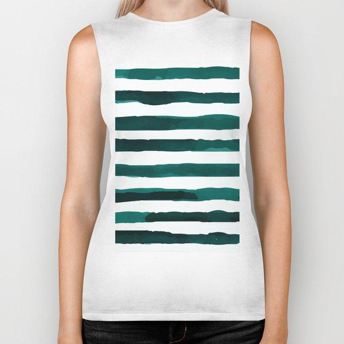 Watercolor Stripes (Emerald Green) Biker Tank